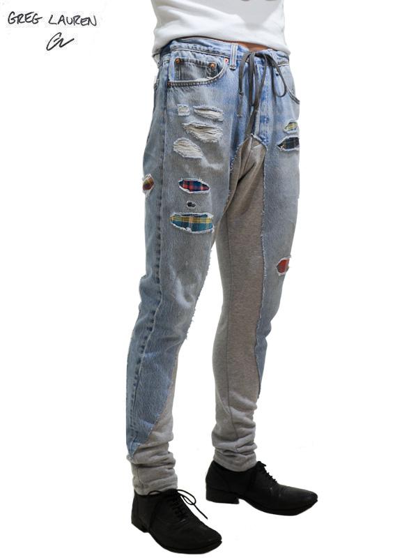 """画像1: 50%OFF【GREG LAUREN - グレッグローレン】50/50 Long Slim """"patchwork Denim / Grey Fleece"""" (クロップドパンツ/パッチワークデニム) (1)"""