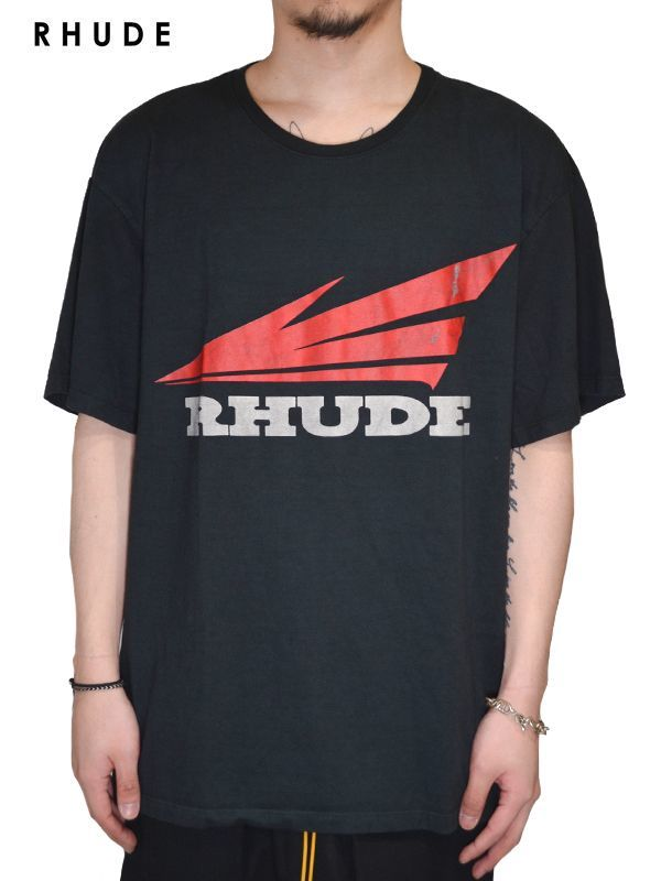 画像1: 30%OFF【RHUDE - ルード】Rhonda 2 Tee /Black(Tee/ブラック) (1)