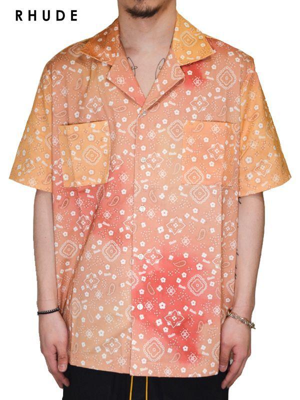 画像1: 60%OFF【RHUDE - ルード】Bandana Print Classic Point Shirt / Orange(シャツ/オレンジ) (1)