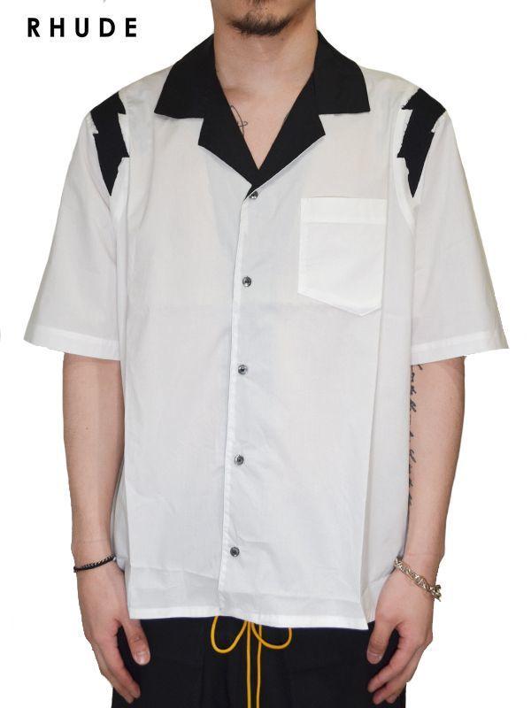 画像1: 30%OFF【RHUDE - ルード】Lightning Button Up / White(シャツ/ホワイト) (1)