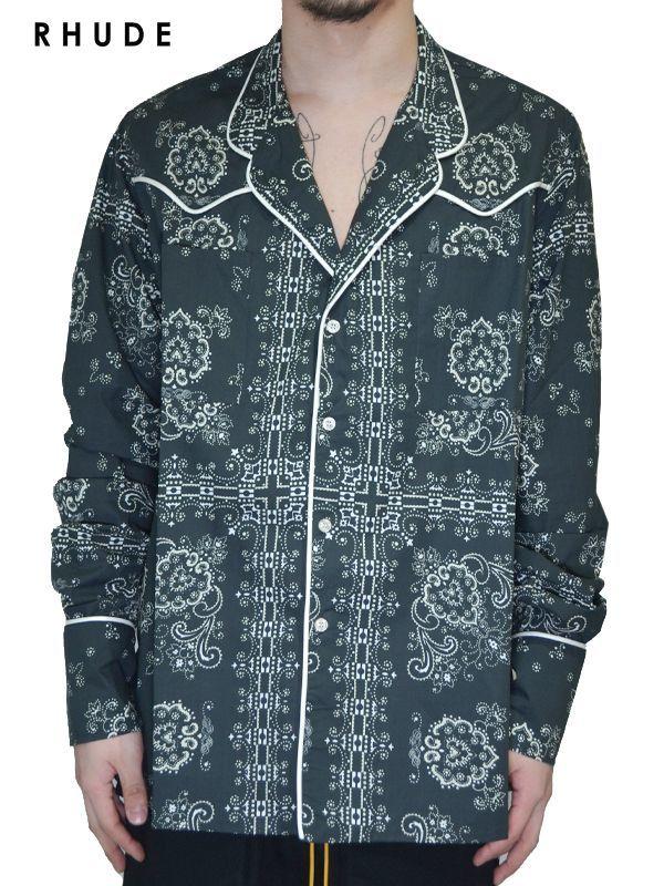 画像1: 20%OFF【RHUDE - ルード】Bandana Western Palama Shirt / Black(シャツ/ブラック) (1)