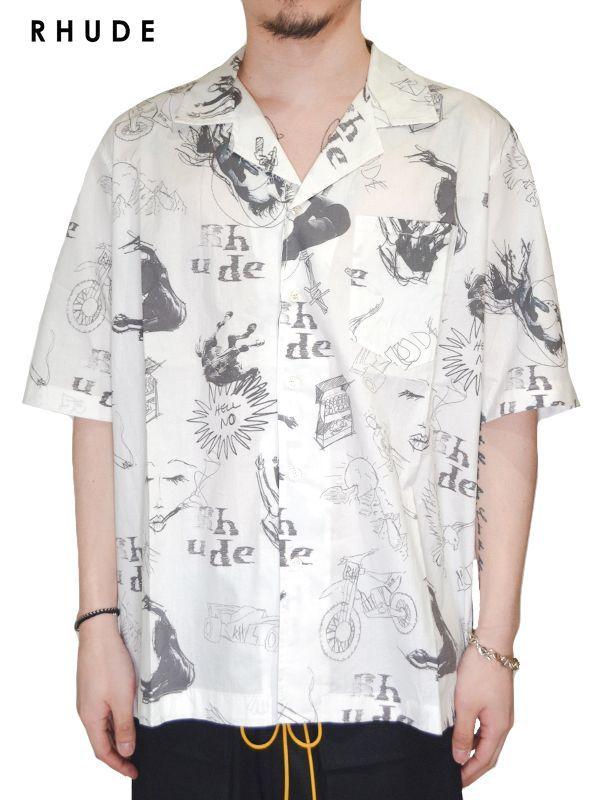 画像1: 30%OFF【RHUDE - ルード】Doodle S/S Hawaiian Shirt / White(シャツ/ホワイト) (1)
