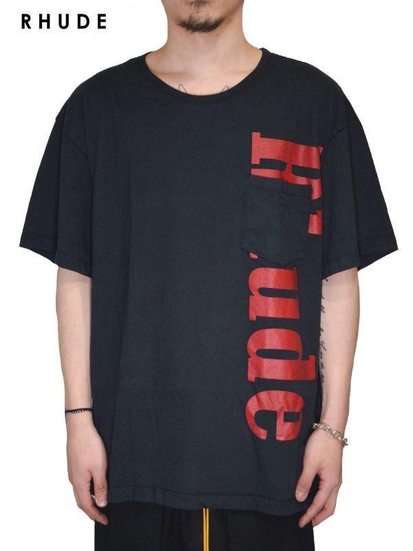 画像1: 20%OFF【RHUDE - ルード】Pocket Logo Tee /Black(Tee/ブラック) (1)