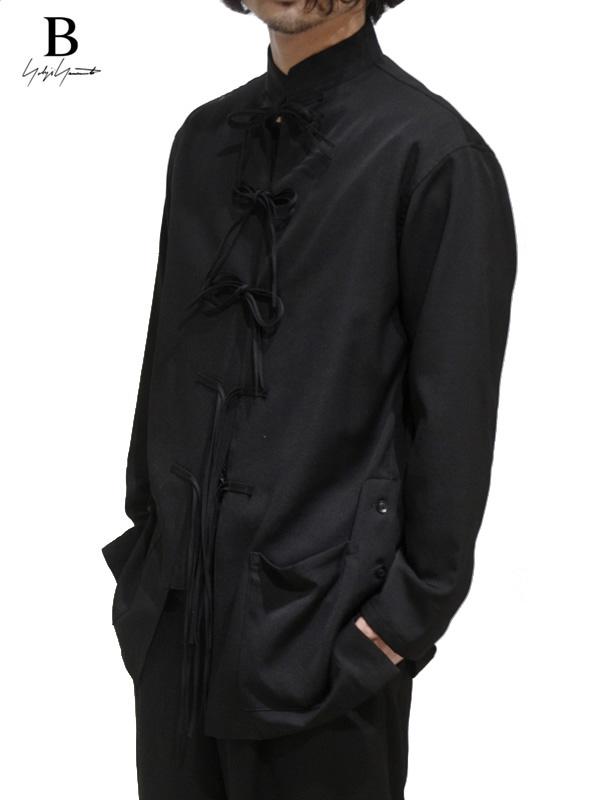 画像1: 【B Yohji Yamamoto  - ビーヨウジヤマモト】Black Maine Wool China Shirts / Black(シャツ/ブラック)  (1)
