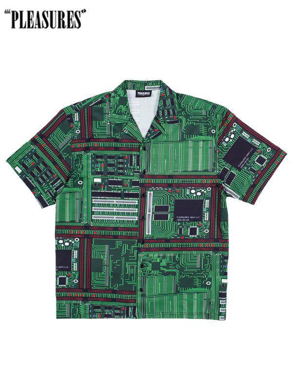 画像1: 20%0FF【PLEASURES - プレジャーズ】Motherboard Rayon Shirt/ Green(シャツ/グリーン) (1)