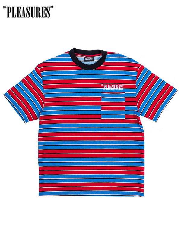 画像1: 50%OFF【PLEASURES - プレジャーズ】Chainsmoke Stripe Tee/ Blue(Tシャツ/ブルー) (1)