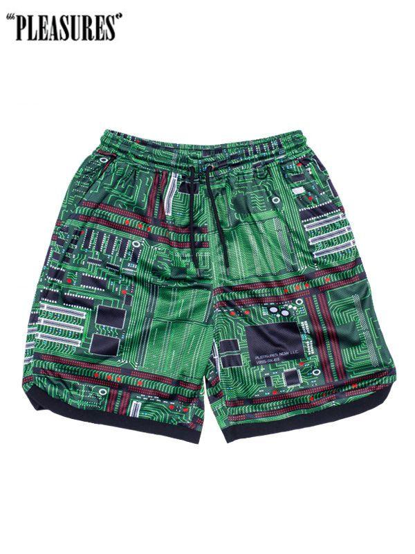 画像1: 20%0FF【PLEASURES - プレジャーズ】Motherboard Basketball Shorts/ Green(ショーツ/グリーン) (1)