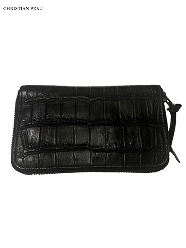"""画像1: 【Christian Peau - クリスチャンポー】B004 Wallet S """"Crocodile"""" / Black(ウォレット/ブラック) (1)"""