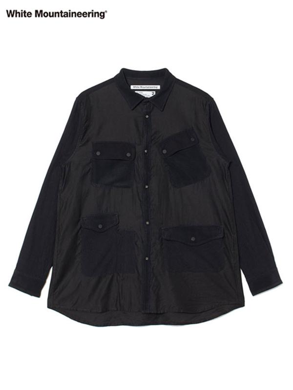 画像1: 30%OFF【White Mountaineering - ホワイトマウンテニアリング】Mixed Fabric Hunting Shirt / Black(シャツ/ブラック) (1)