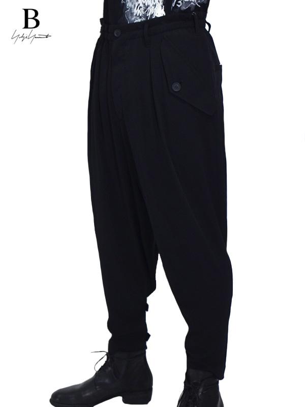 画像1: 【B Yohji Yamamoto  - ビーヨウジヤマモト】B/Decine Flap Pocket Pants / Black (パンツ/ブラック)  (1)