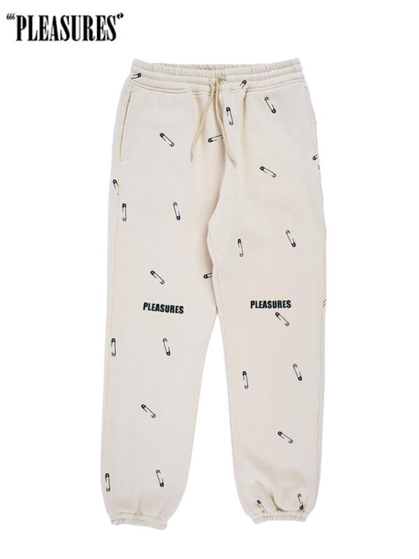 画像1: 20%OFF【PLEASURES - プレジャーズ】Safety Embroidered Sweat Pant / Cream (ボトムス/クリーム) (1)