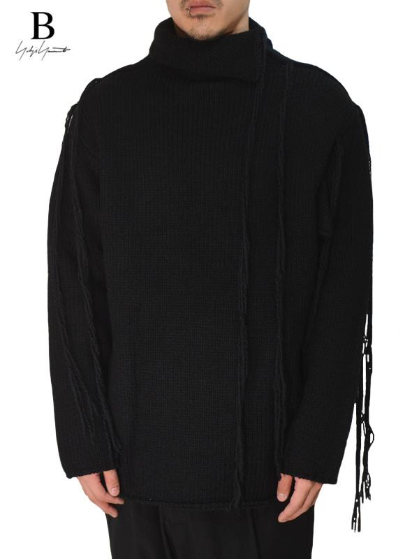 画像1: 【B Yohji Yamamoto  - ビーヨウジヤマモト】Cutting Turtleneck String Knit  / Black (ニット/ブラック)  (1)
