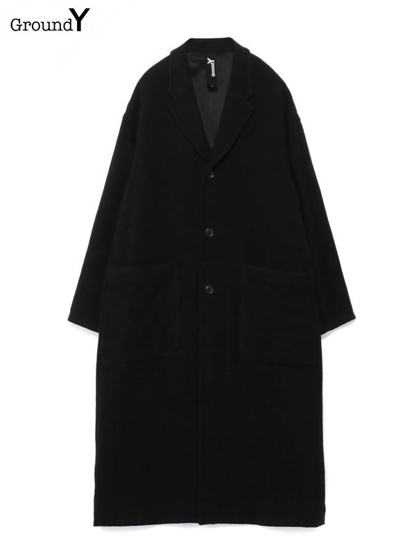 画像1: 【Ground Y  - グラウンドワイ】Vintage Flannel Long Big Shirt Jacket / Black (コート/ブラック)  (1)
