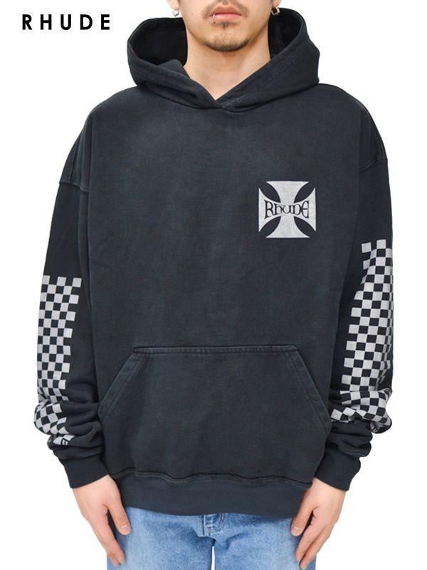 画像1: 20%OFF【RHUDE - ルード】Classic Checkers Graphic Hoodie / Black (パーカー/ブラック) (1)