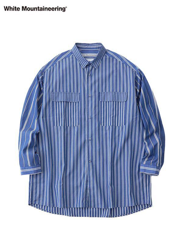 画像1: 30%OFF【White Mountaineering - ホワイトマウンテニアリング】Multi Stripe Wide Shirt / Blue  (シャツ/ブルー) (1)