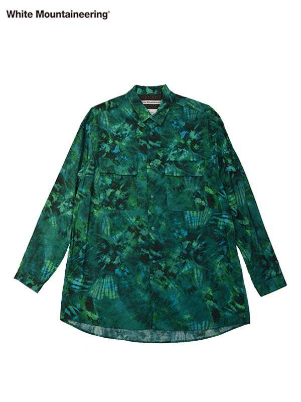 画像1: 30%OFF【White Mountaineering - ホワイトマウンテニアリング】Tie Dye Printed Shirt / Green (シャツ/グリーン) (1)