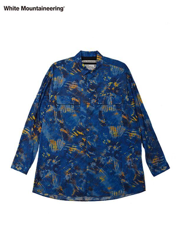 画像1: 30%OFF【White Mountaineering - ホワイトマウンテニアリング】Tie Dye Printed Shirt / Blue  (シャツ/ブルー) (1)