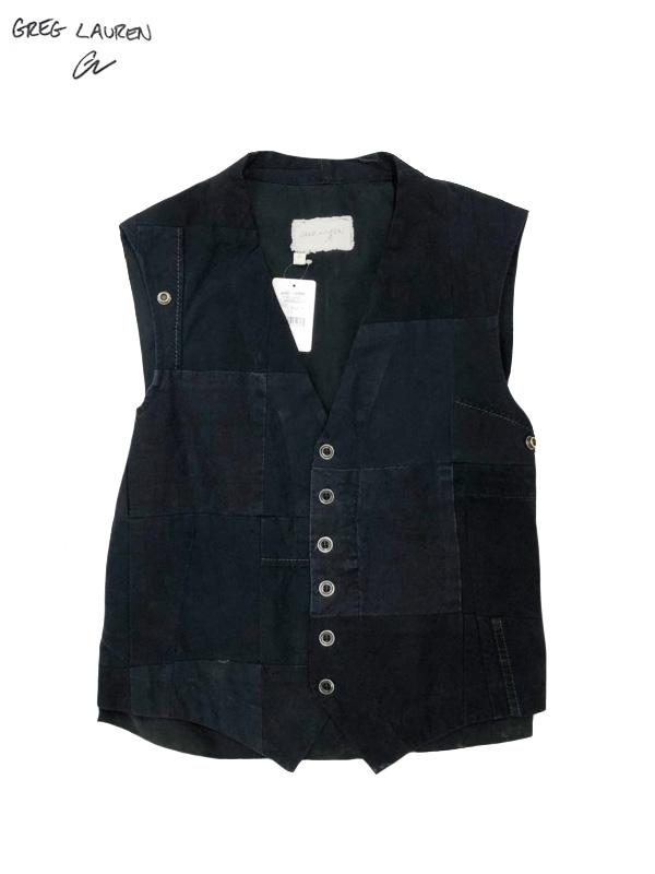 画像1: 【GREG LAUREN - グレッグローレン】 Tent Scrapwork Vest / Black (ベスト/ブラック) (1)