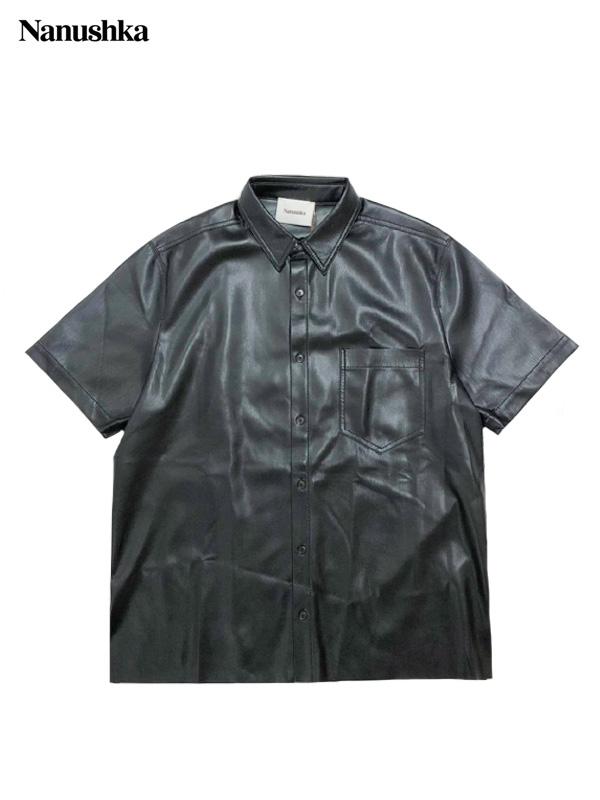 画像1: 【NANUSHKA - ナヌーシュカ】ADAM / CLASSIC FIT SHORTSLEEVE SHIRT / VEGAN LEATHER / BLACK (シャツ/ブラック) (1)