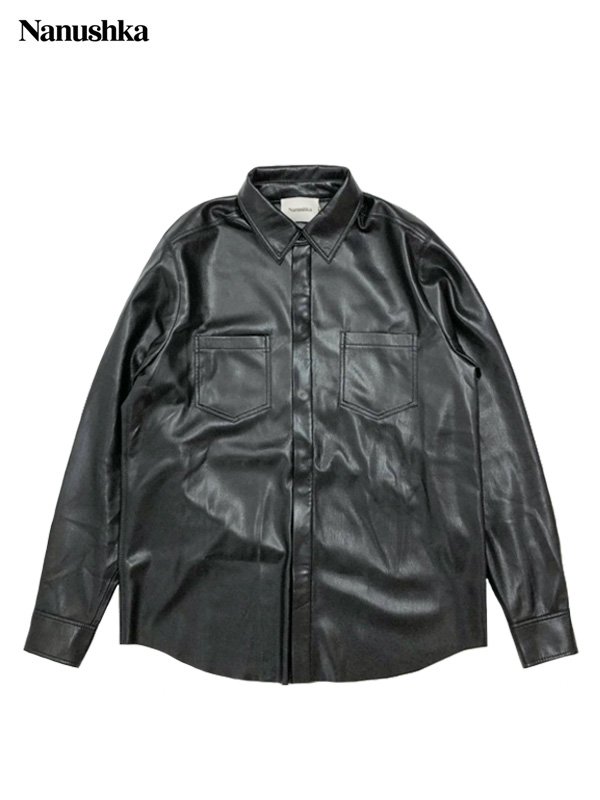 画像1: 【NANUSHKA - ナヌーシュカ】DECLAN / CLASSIC FIT LONGSLEEVE SHIRT / VEGAN LEATHER / BLACK (シャツ/ブラック) (1)