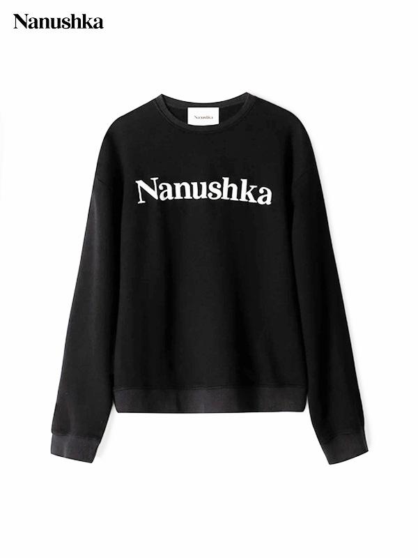 画像1: 【NANUSHKA - ナヌーシュカ】LOGO  EMBROIDERED SWEAT SHIRT / BLACK(スウェット/ブラック) (1)