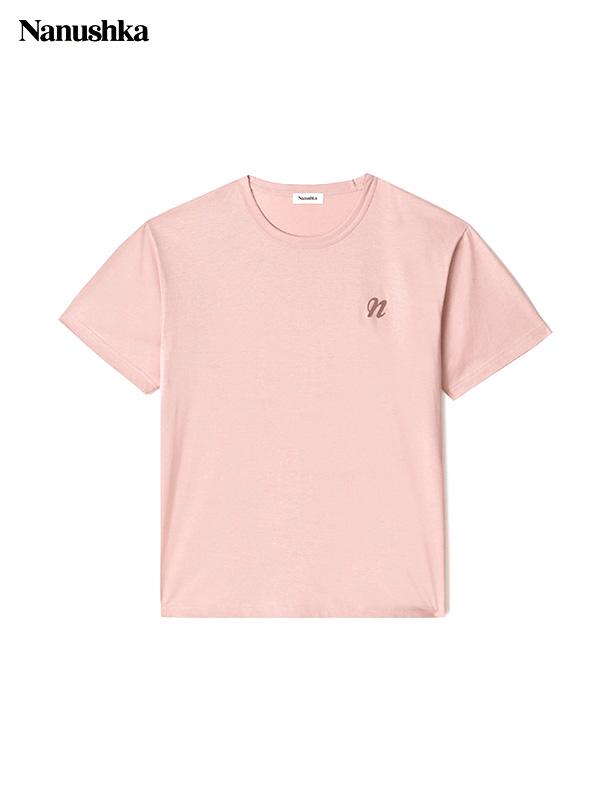 画像1: 【NANUSHKA - ナヌーシュカ】REECE / EMBROIDERED T-SHIRT / PINK(Tシャツ/ピンク) (1)