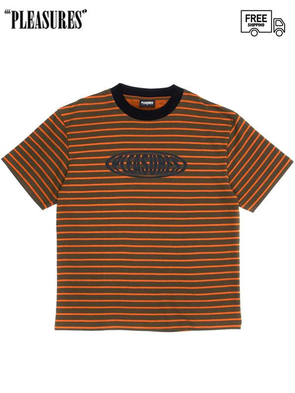 画像1: 【PLEASURES - プレジャーズ】Sports Striped Tee / Orange (Tシャツ/オレンジ) (1)