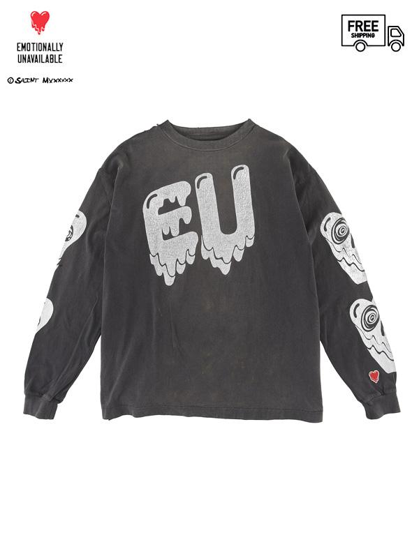 画像1: 【EMOTIONALLY UNAVAILABLE Xリ©SAINT Mxxxxxx - エモーショナリー アンアベイラブル x セントマイケル】EU STM LS T / BLACK(Tシャツ/ブラック) (1)