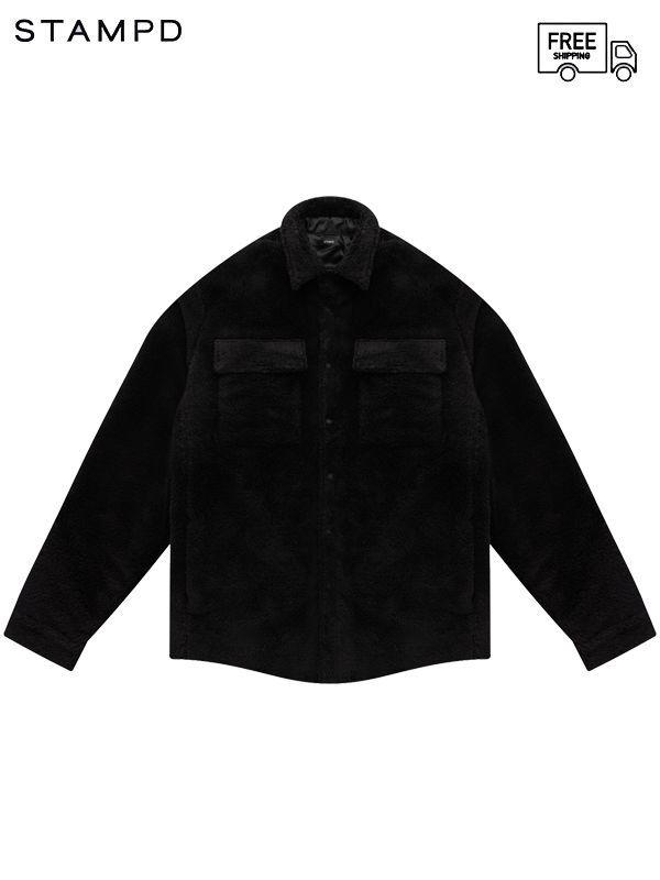 画像1: 【STAMPD - スタンプド】Script Sherpa Button Down / Black ( シャツ/ブラック) (1)
