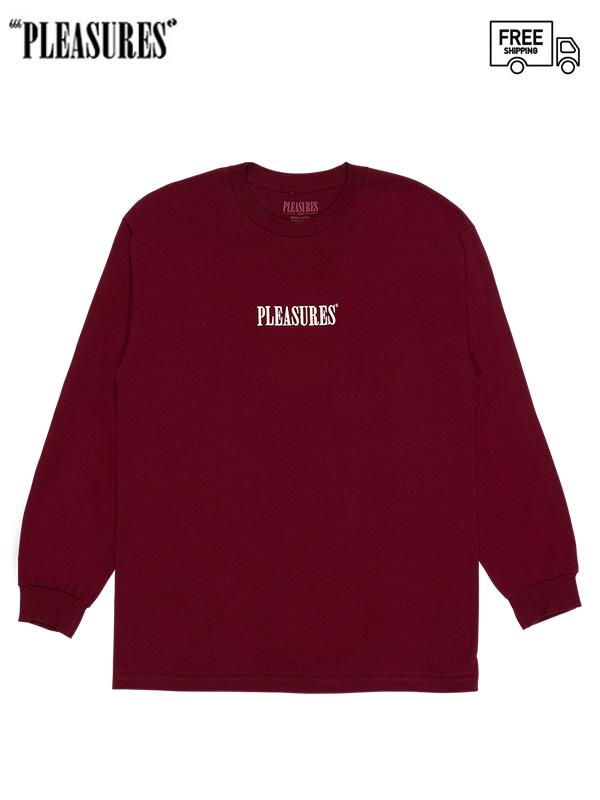 画像1: 【PLEASURES - プレジャーズ】CORE EMBROIDERED LONG SLEEVE/Burgundy (Tシャツ/バーガンディー) (1)
