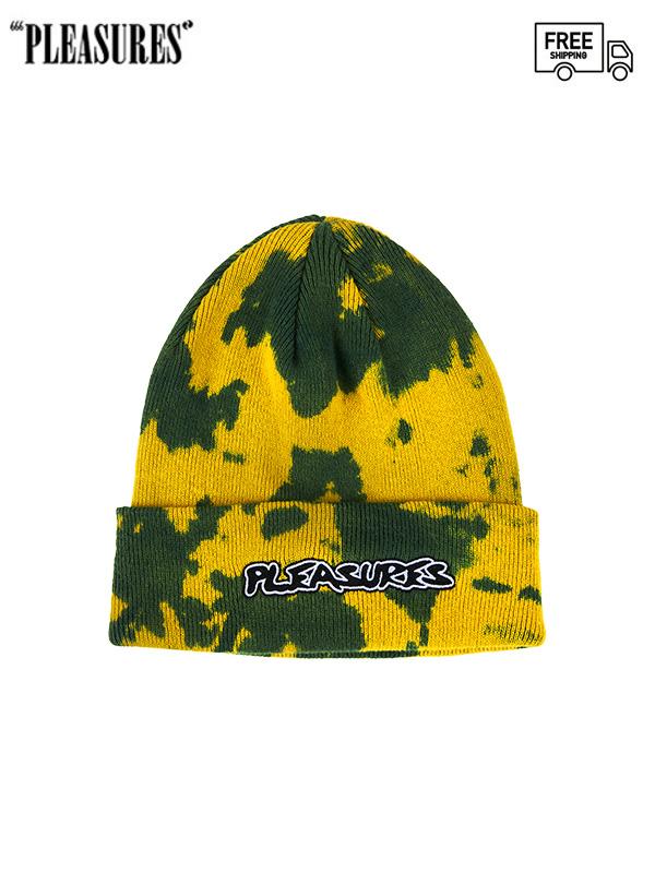 画像1: 【PLEASURES - プレジャーズ】BACKBONE DYED BEANIE/ Yellow (ビーニー/イエロー) (1)