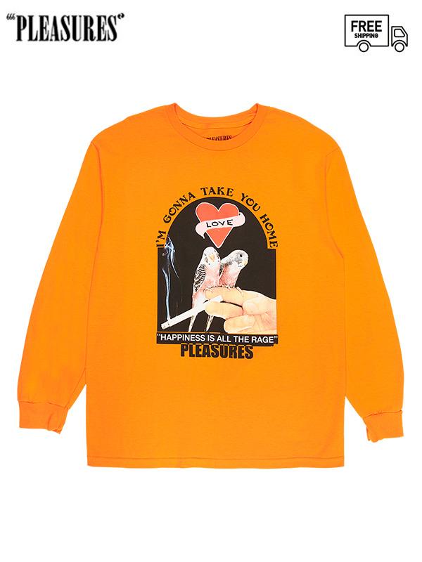 画像1: 【PLEASURES - プレジャーズ】LOVEBIRDS LONG SLEEVE / Orange (Tシャツ/オレンジ) (1)